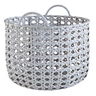 Grey Lattice Woven Floor Bin