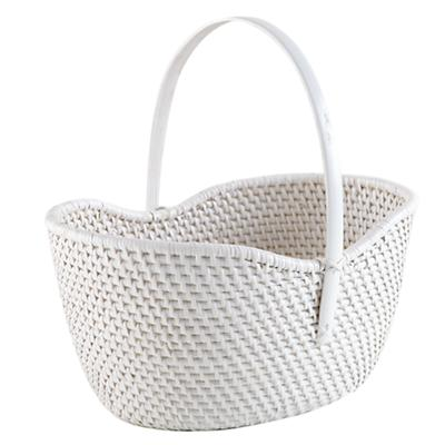 Rattan Basket with Handle (White)