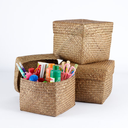 Kids Storage Baskets: Kids Brown Sea Grass Nesting Baskets - Brown Seagrass Storage Bin Set of 3