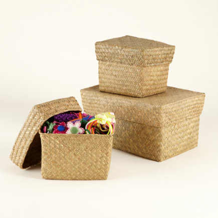 Kids Storage Baskets: Kids Natural Sea Grass Nesting Baskets - Natural Seagrass Storage Bin Set of 3