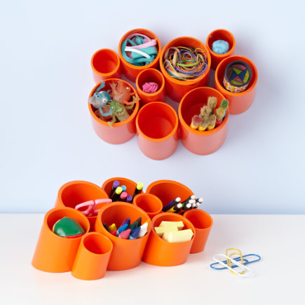 Kids Storage: Kids Orange Wall Cubby Organizer - Orange Multi Organizer