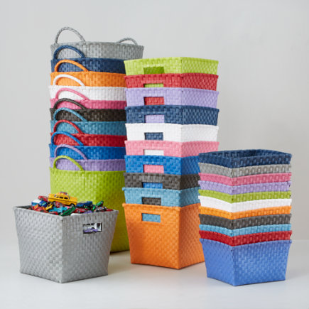 Kids Storage Containers: Kids Colorful Woven Storage Collection - White Shelf Basket