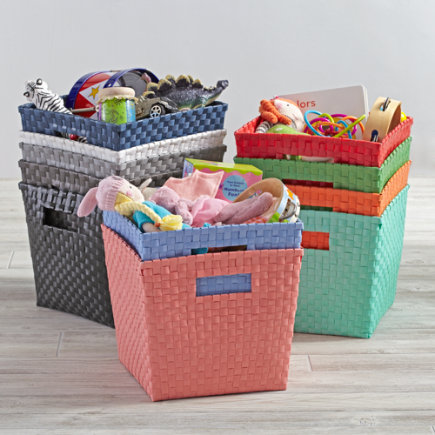Kids Storage Containers: Kids Canvas Cube Storage Bin - Black Strapping Cube Bin