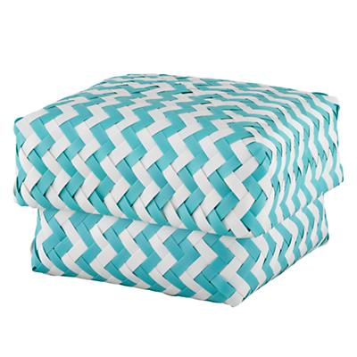 Medium Zig Zag Basket (Aqua)