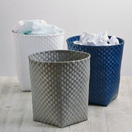 Woven Strapping Trash Can - Dk