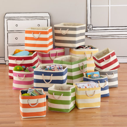 Kids Storage: Striped Cube Storage Collection - Red Stripes Around the Cube Bin