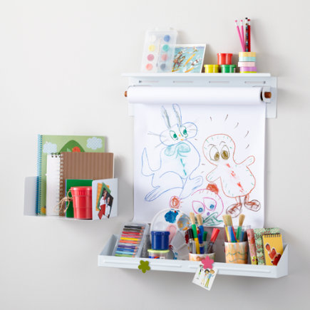 Kids Shelving: White Wall Shelves and Bins - White Up Against the Wall Shelf