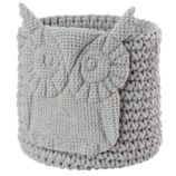 Wee Woodland Crochet Bin (Grey Owl)