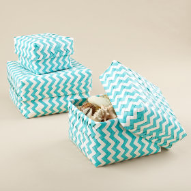 Aqua Zig Zag Strapping Baskets