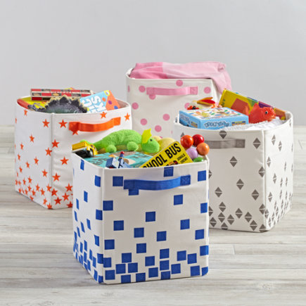 Orange Stars Scatter Print Small Bin
