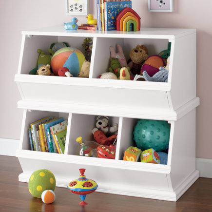 Kids Toy Boxes: Kids Wooden Primary Stacking Storage 2 and 3 Bin - White 2-Bin Palooza