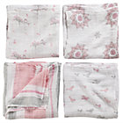 Pink Swaddle Blanket Set: Bird, Snowflake, Multi Stripe, Owl