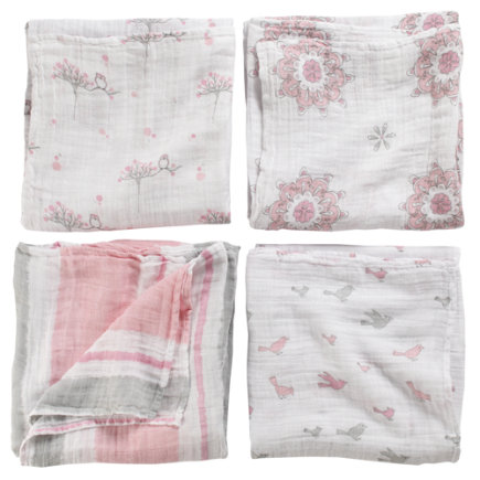 Baby Blankets: Aden and Anais Swaddling Blankets - Pink Swaddle Blanket Set: Bird, Snowflake, Multi Stripe, Owl