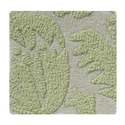 Green Raised Floral Rug Swatch