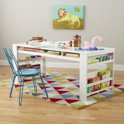 Kids Play Table Kids White Play Table with Side Bin - White Compartment Play Table & PLAY TABLES - COOL BABY AND KIDS STUFF