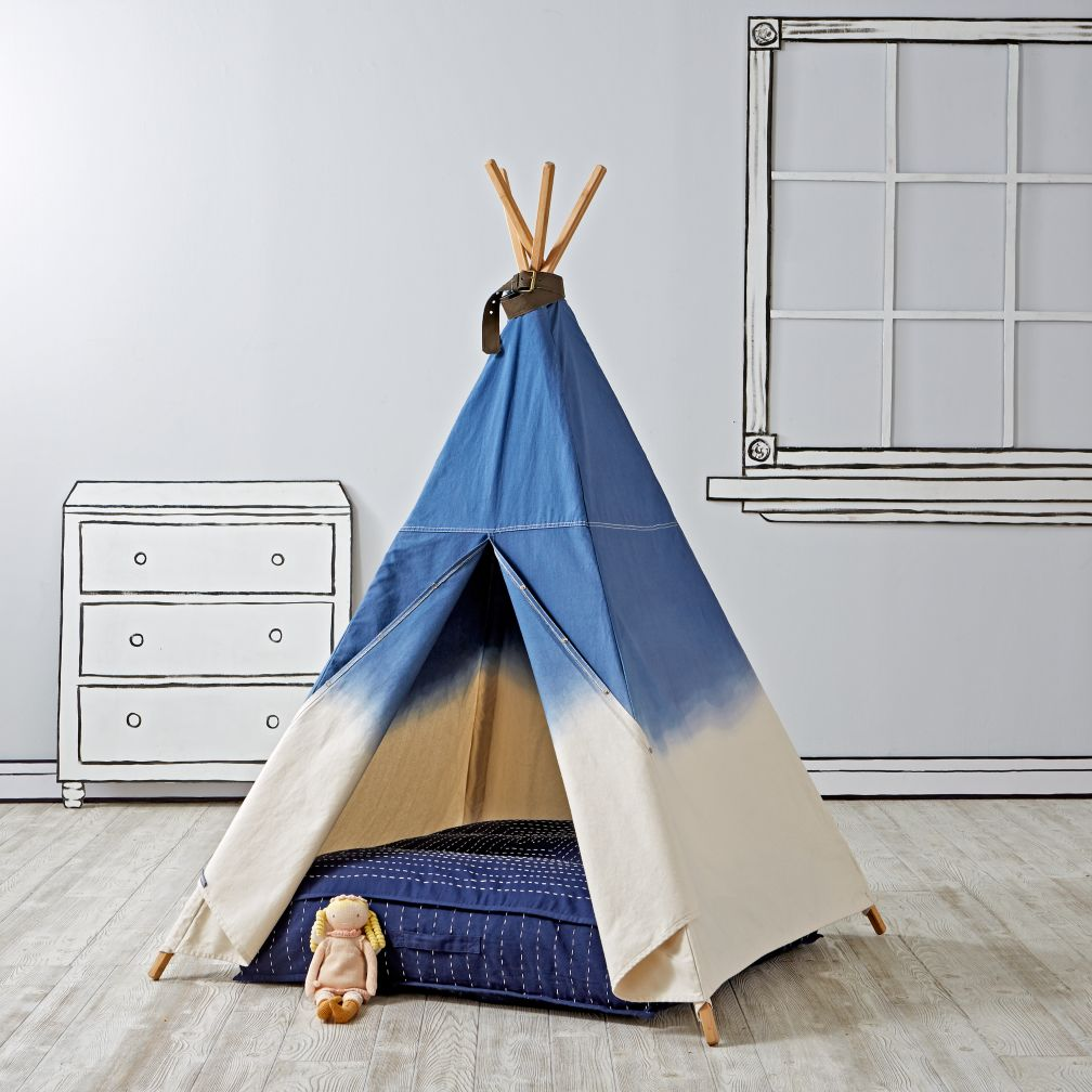 Teepee & Cushion to Call Your Own Set (Dip DyeDenim)