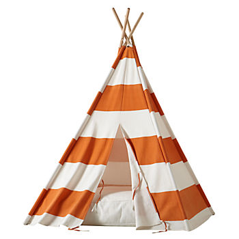 A Teepee & Cushion to Call Your Own Set Orange Stripe)