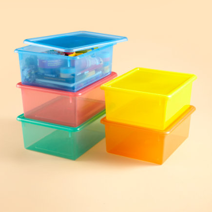 Kids Storage Containers: Kids Colorful See-Through Stackable Box - Blue 5 Top Box</p><p>