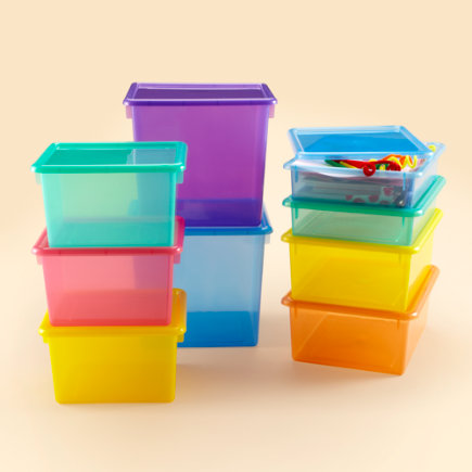 Kids Storage Containers: Kids Colorful See-Through Stackable Box - Blue Cube Top Box