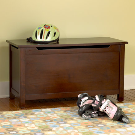 Kids Toy Chests: Kids Solid Espresso Brown Toy Box - Espresso Simple Toy Box
