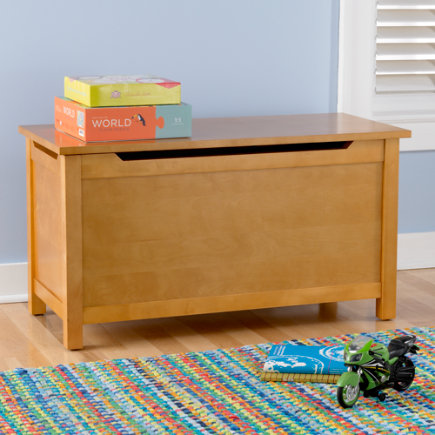 Kids Toy Chests: Kids Solid Blonde Toy Box - Blonde Simple Toy Box