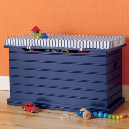 Kids Benches: Kids Blue Beadboard Toy Chest - Midnight Blue Beadboard Toy Chest