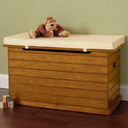 Kids Benches: Kids Honey Beadboard Toy Chest - Honey Beadboard Toy Chest