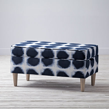 Upholstered Storage Bench (Indigo) - Indo Indigo Upholstered Storage Bench