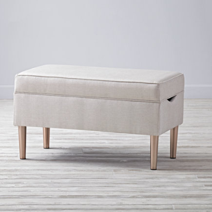 Upholstered Storage Bench (Ivory) - Vision Ivory Upholstered Storage Bench