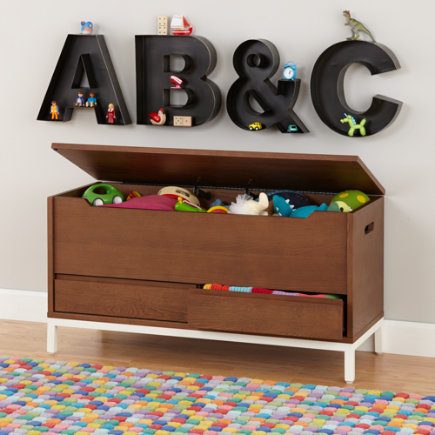 Hi-Fi Sleek Modern Toy Box (Walnut) - Walnut Hi-Fi Toy Box with White Base