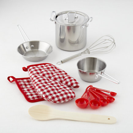 Kids Size Kitchen Utensils & Cooking Set - Play Cooking Set