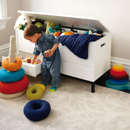 Hi-Fi Sleek Modern Toy Box (White) - White Hi-Fi Toy Box with Black Base