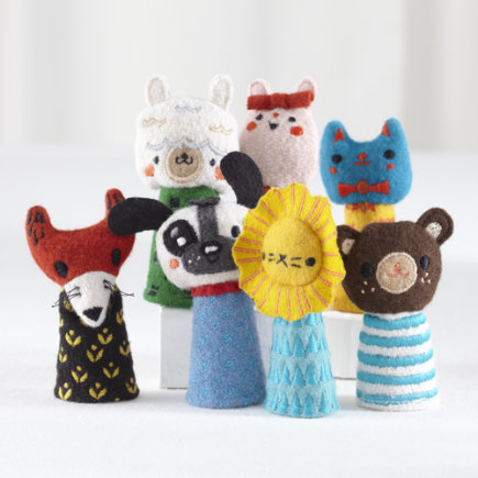 Kids Stuffed Animals: Finger Puppet Theater - Finger Puppet Theater Troupe Set of 7