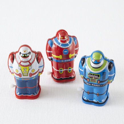 Kids Toys: Kids Wind Up Toy Robots - Red Wind A Bots Tin Robots