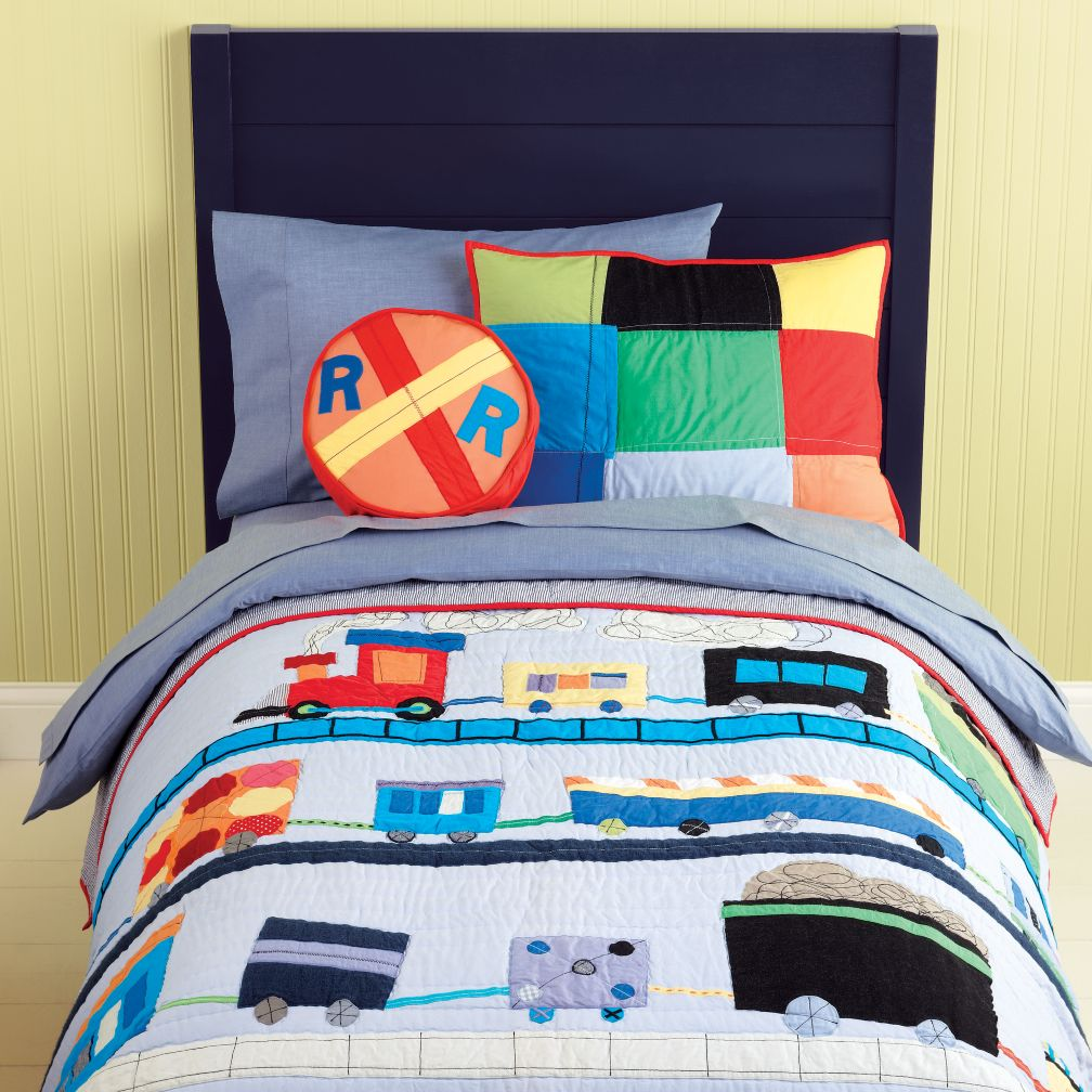 Kids' Bedding: Kids Blue Train Embroidered Quilt Bedding