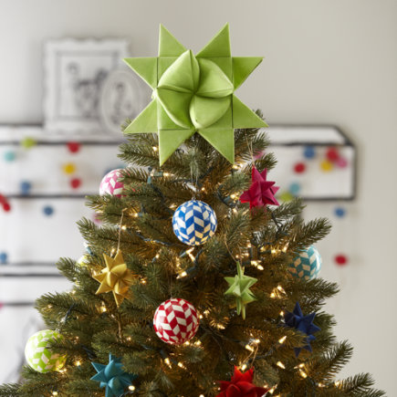 Kids Holiday Decor: Green Paper Tree Topper - Green Supernova Tree Topper