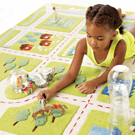 Kids Rugs: Kids Town Activity Rug Features Roads, Trees, Buildings And Lakes - 4 x 6 Green Over the River Map Rug