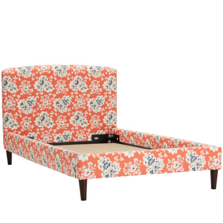 Twin Cecilia Coral Upholstered Bed