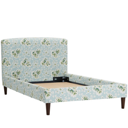 Twin Cecilia Sea Green Upholstered Bed