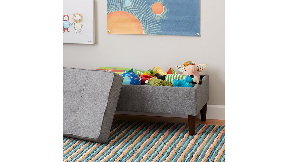 Tufted Upholstered Storage Bench (Flair Smoke)