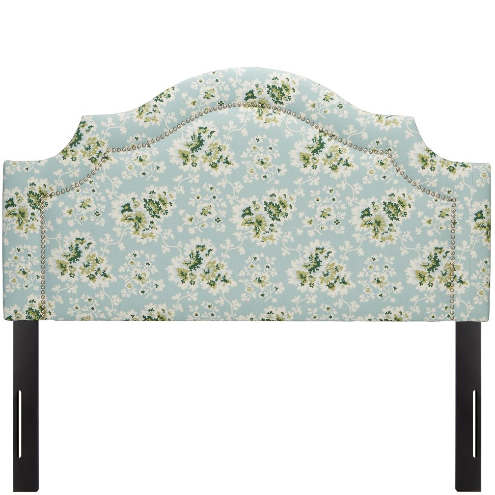 Full Arched Headboard with Nail Heads (Cecilia Sea Green)