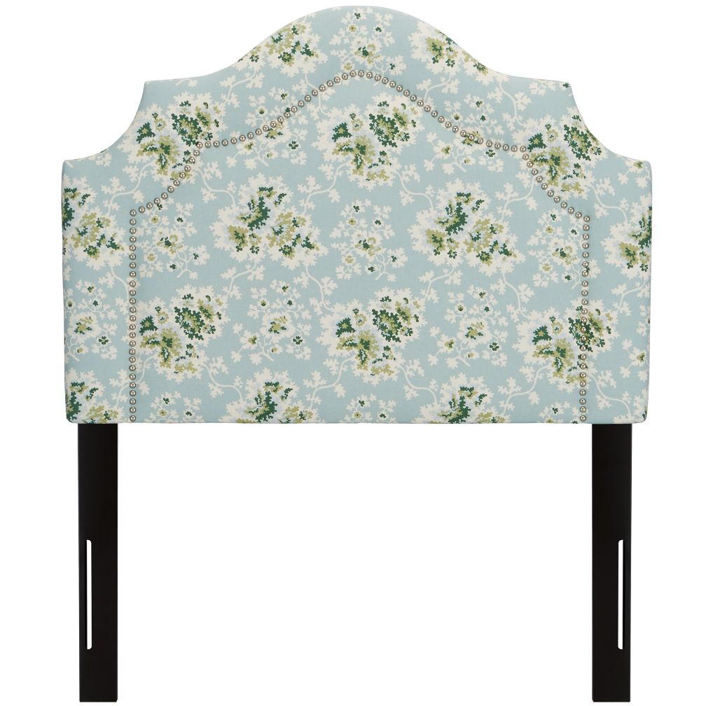Twin Arched Headboard with Nail Heads (Cecilia Sea Green)