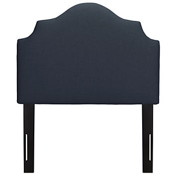 Twin Arched Upholstered Headboard (Navy Linen)
