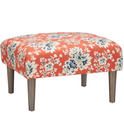 Cecilia Coral Upholstered Ottoman