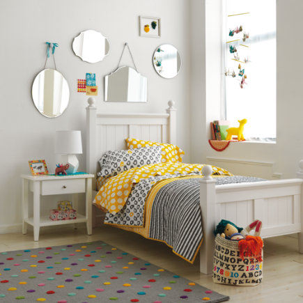 Kids Bedding: Grey Yellow Peep Bedding - Twin Not a Peep Yellow Stripe Quilt