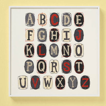 Kids Wall Decor: Kids Alphabet Nautical Wall Art Poster - Alphabet HO! Wall Art