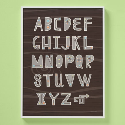 Kids Wall Decor: Kids Alphabet Wall Art - Framed From Point A Wall Art