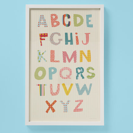 Kids Wall Decor: Kids Pretty Patterns Alphabet Wall Art - Framed Pretty Patterns Wall Art