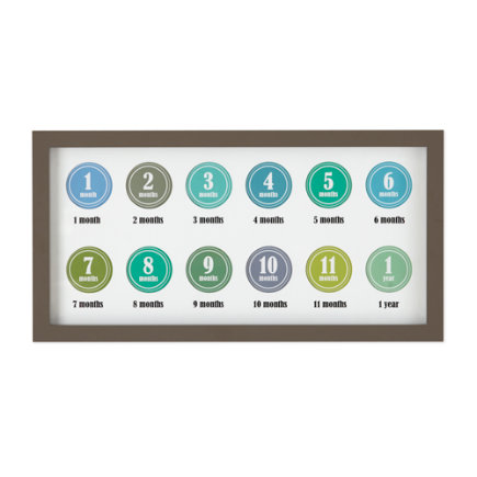 Babys First Year Photo Frame (Blue/Green) - Grey Happy First Year Photo FrameIncludes 12 Blue and Green Stickers