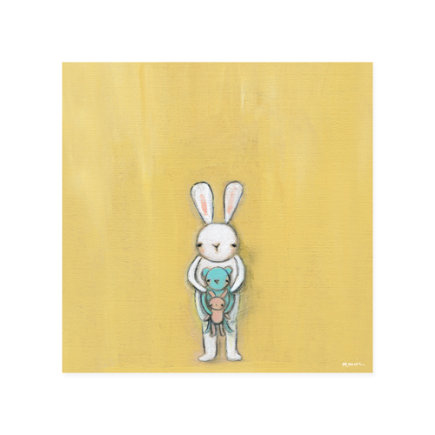 Creative Thursday Bunny Canvas Wall Art - Bunny Holding a Bear Wall Art